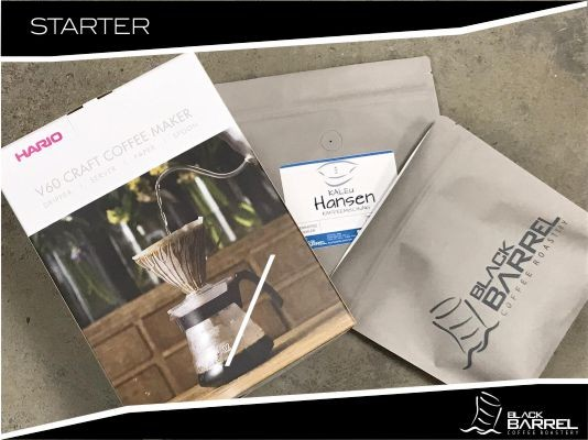 BLACKBARREL COFFEE STARTER SET HARIO V60 Coffeemaker & KALEU Hansen Mischung